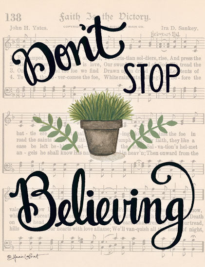 Annie LaPoint ALP1794 - Don't Stop Believing - 12x16 Don't Stop Believing, Music, Sheet Music, Greenery, Faith Is the Dictory from Penny Lane