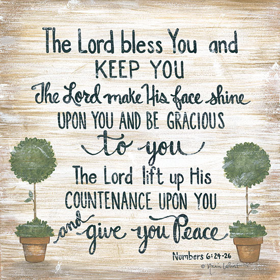 Annie LaPoint ALP1798 - The Lord Bless You - 12x12 Lord, Bless and Keep You, Topiaries, Bible Verse, Numbers, Peace from Penny Lane