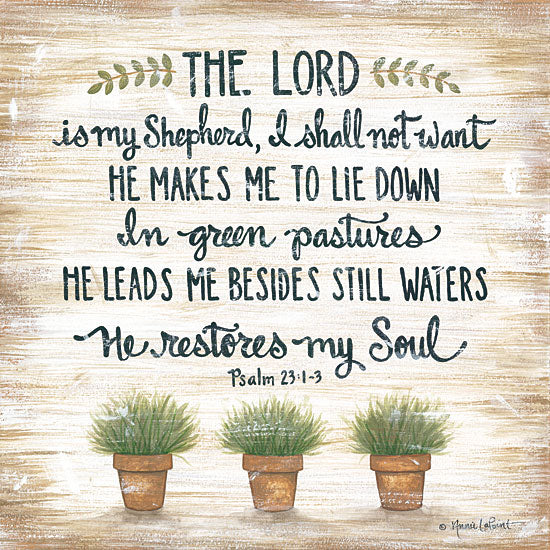 Annie LaPoint ALP1799 - The Lord is My Shepherd - 12x12 The Lord is My Shepherd, Potted Plants, Flowers, Bible Verse, Psalm, Botanical from Penny Lane