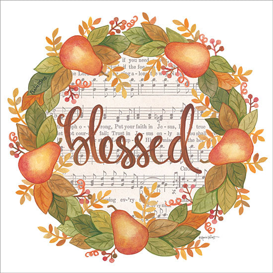 Annie LaPoint ALP1806 - Blessed Wreath - 12x12 Blessed, Wreath, Pears, Music, Sheet Music, Autumn, Thanksgiving from Penny Lane