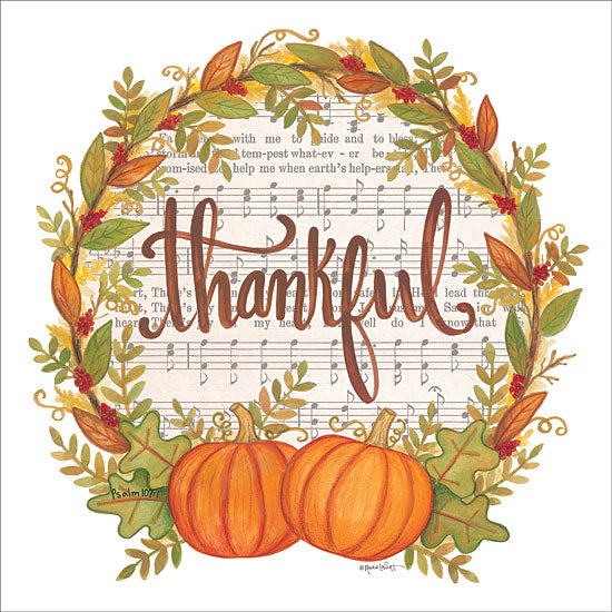 Annie LaPoint ALP1808 - Thankful Wreath - 12x12 Thankful, Wreath, Pumpkins, Music, Sheet Music, Autumn, Thanksgiving from Penny Lane