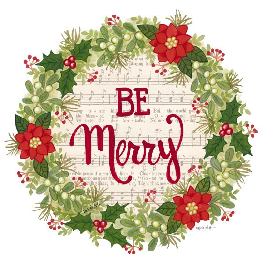 Annie LaPoint ALP1809 - Be Merry Holiday Wreath - 12x12 Holidays, Sheet Music, Wreath, Poinsettias, Flowers, Be Merry, Holly and Berries from Penny Lane
