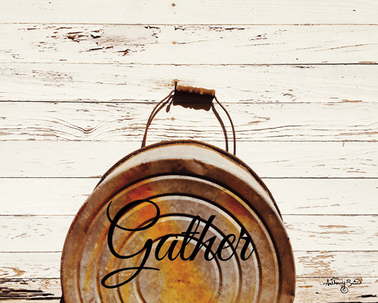 Anthony Smith ANT146 - ANT146 - Gather - 16x12 Gather, Rusty Bucket, Calligraphy, Shiplap, Rustic from Penny Lane