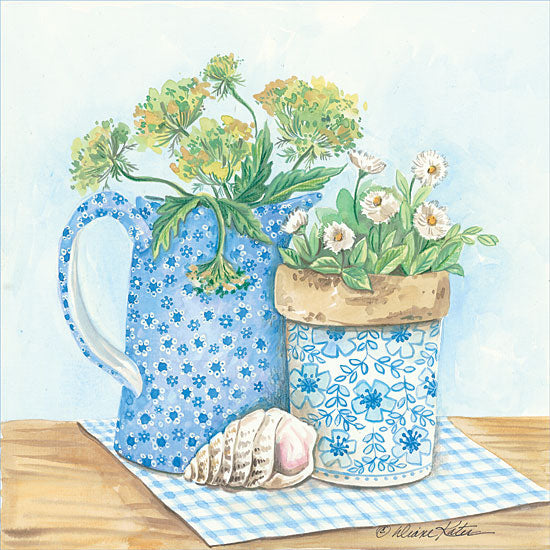 Diane Arthurs ART1078 - Blue and White Pottery with Flowers I - Pottery, Blue and White Pottery, Shell, Flowers, Crock from Penny Lane Publishing
