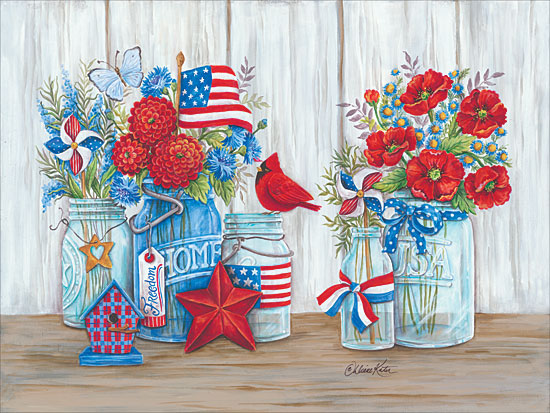 Diane Arthurs ART1080 - Patriotic Glass Jars with Flowers - July 4th, American Flag, America, USA, Flowers, Jars, Cardinal from Penny Lane Publishing