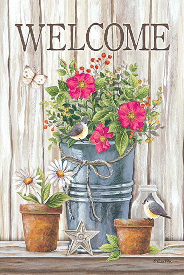 Diane Kater ART1087 - Welcome Spring Flowers Spring Flowers, Galvanized Pot, Welcome, Wood, Birds, Terracotta Potsfrom Penny Lane