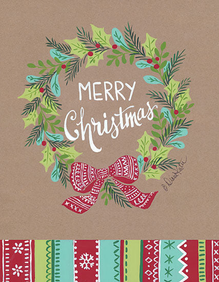 Diane Kater ART1094 - Merry Christmas Wreath Kraft Paper, Holidays, Merry Christmas, Wreath from Penny Lane