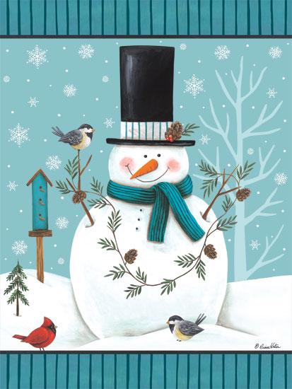 Diane Kater ART1103 - Top Hat Snowman Snowman, Top Hat, Cardinals, Birdhouse, Snowflakes, Snow, Pinecones from Penny Lane