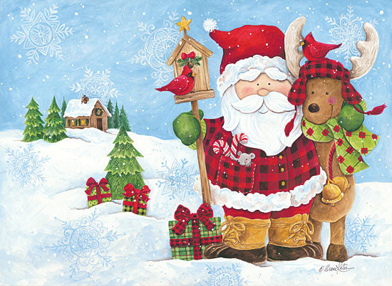 Diane Kater ART1105 - Lodge Santa Santa Claus, Holidays, Presents, Reindeer, Sleigh Bells, Cardinal, Buffalo Plaid from Penny Lane