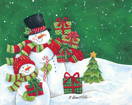 Diane Kater ART1106 - Father and Son Merry Christmas Snowmen Snowmen, Father and Son, Presents,  Holiday, Winter, Snow, Christmas Tree from Penny Lane