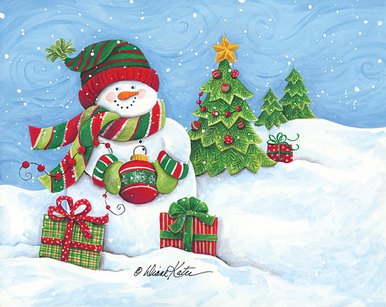 Diane Kater ART1108 - Snowman with Ornament Snowman, Ornament, Presents, Christmas Trees, Winter, Snow from Penny Lane