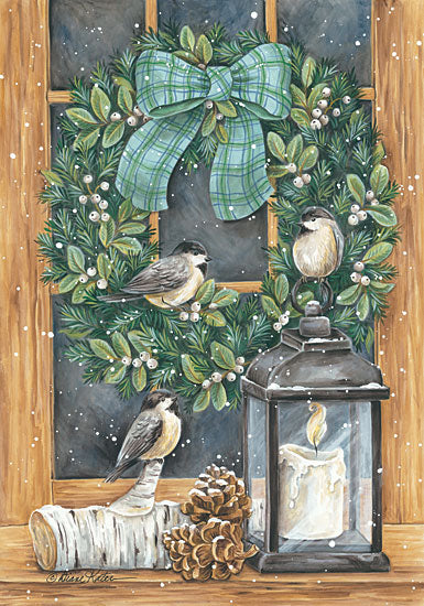 Diane Kater ART1110 - Winter Wreath - 12x18 Wreath, White Berries, Chickadees, Candle, Lantern, Pinecones, Winter, Window Pane from Penny Lane