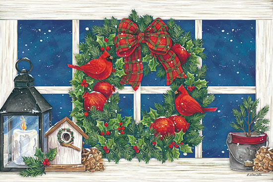 Diane Kater ART1111A - Pomegranate Christmas Wreath - 18x12 Wreath, Pomegranates, Robins, Candle, Lantern, Birdhouse, Greenery, Holly, Holidays from Penny Lane