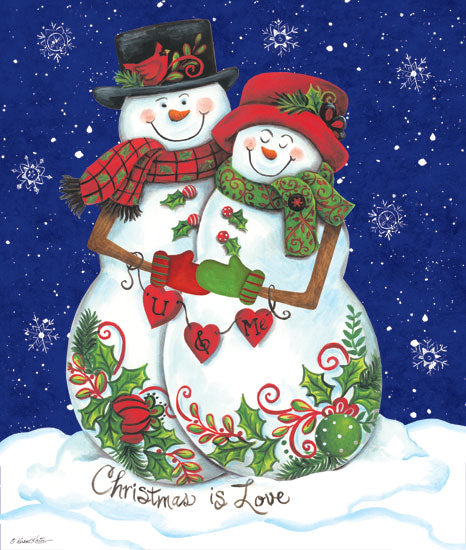 Diane Kater ART1122 - Snow Couple - 12x16 Holidays, Snowmen, Couple, Christmas is Love, Snowflakes from Penny Lane