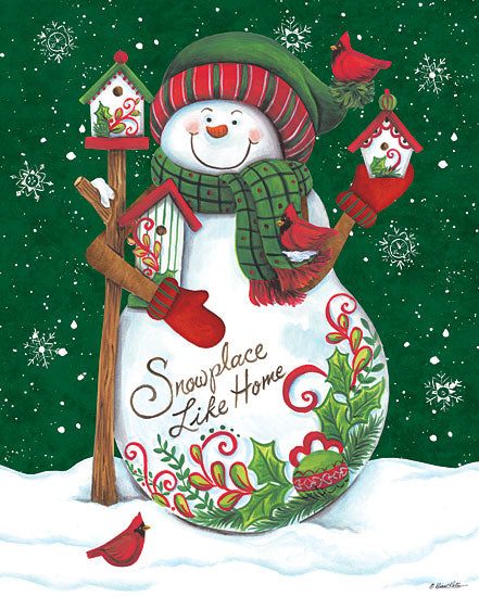 Diane Kater ART1125 - Snowman with Birdhouses - 12x16 Holidays, Snowmen, Snowplace Like Home, Birdhouses, Birds from Penny Lane