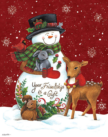 Diane Kater ART1128 - Snowman with Deer - 12x16 Holidays, Snowmen, Reindeer, Friendship, Snowflakes from Penny Lane