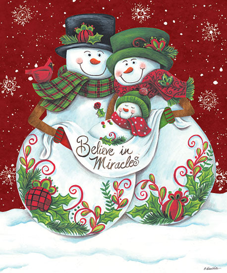 Diane Kater ART1129 - Snowman Parents with Baby - 12x16 Holidays, Snowmen, Couple, Baby, Believe in Miracles from Penny Lane