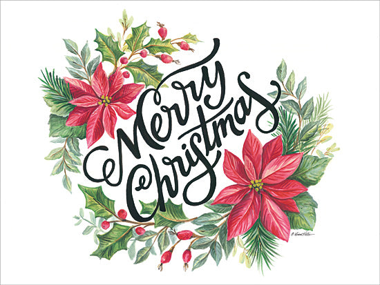 Diane Kater ART1158 - ART1158 - Merry Christmas Wreath - 16x12 Wreath, Holidays, Christmas, Calligraphy, Signs from Penny Lane