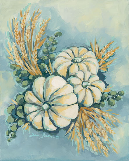 Sara Baker BAKE103 - Blue Harvest I Pumpkins, Harvest, Autumn, Wheat, Gourds from Penny Lane