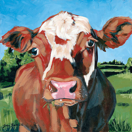 Sara Baker BAKE105 - Henry the Hereford Cow, Hereford, Grazing, Landscape from Penny Lane