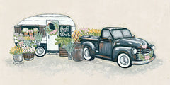 BAKE122 - Vintage Flower Truck and Trailer - 18x9