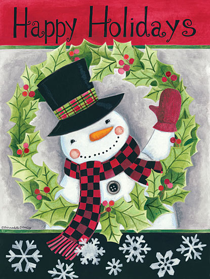 Bernadette Deming BER1265 - Happy Holidays Wreath Snowman - Snowman, Wreath, Snowflakes, Holidays from Penny Lane Publishing