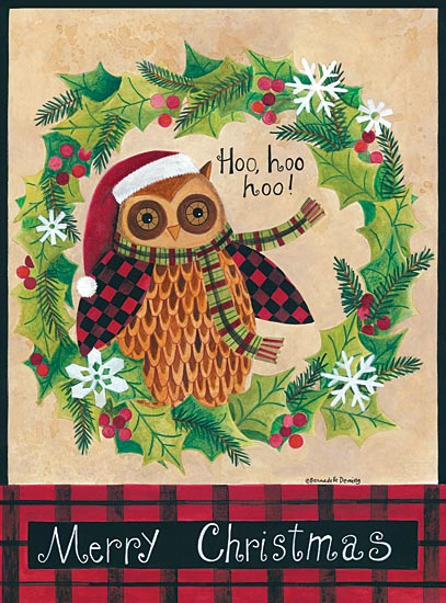 Bernadette Deming BER1267 - Santa Owl - Owl, Holiday, Snowflakes, Wreath, Greenery from Penny Lane Publishing