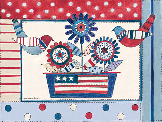 Bernadette Deming BER1312 - Patriotic Birds and Flowers Americana, Flowers, Birds, Red, White, Blue, Patterns from Penny Lane