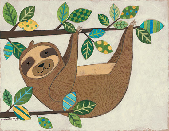 Bernadette Deming BER1315 - Hanging Sloth Sloth, Patterned Leaves, Tree, Hanging Around from Penny Lane