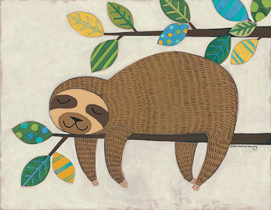 Bernadette Deming BER1316 - Sleeping Sloth Sloth, Patterned Leaves, Tree, Hanging Around from Penny Lane