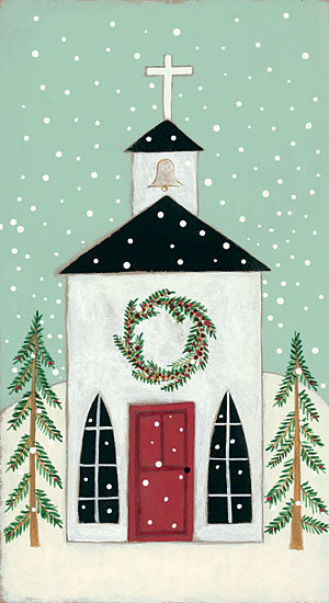 Bernadette Deming BER1317 - Church in the Snow Church, Pine Trees, Primitive, Country Church, Snow, Winter from Penny Lane