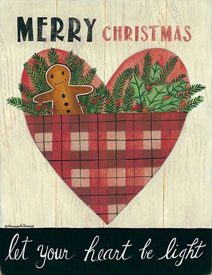 Bernadette Deming BER1321 - Let Your Heart Be Light Heart, Gingerbread Man, Pine Sprigs, Holidays, Primitive from Penny Lane