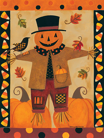 Bernadette Deming BER1326 - Jack the Scarecrow - 12x16 Scarecrow, Harvest, Autumn, Candy Corn, Pumpkins, Crows from Penny Lane