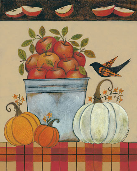 Bernadette Deming BER1327 - Tin Bucket of Apples - 12x16 Apples, Tin, Bucket, Pumpkins, Crow, Plaid, Harvest from Penny Lane