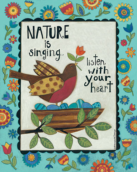 Bernadette Deming BER1342 - Nature is Singing - 12x16 Nature, Singing, Birds, Bird Nest, Flowers, Border, Spring from Penny Lane