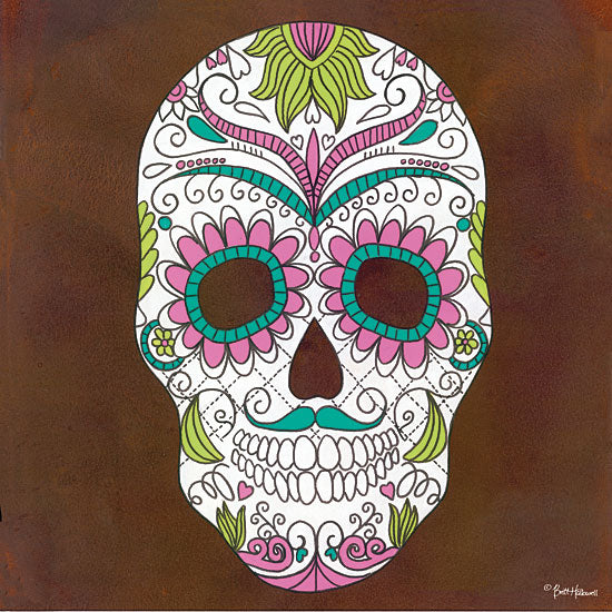Britt Hallowell BHAR470 - Celebrating Life I - 12x12 Skeletons, Skelton Head, Sugar Skull, Mexican Skull Art, Tattoo, Decorative Skulls, Day of the Dead from Penny Lane