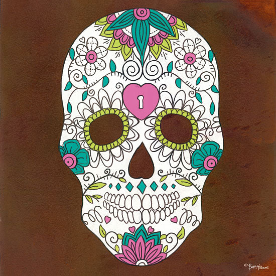 Britt Hallowell BHAR471 - Celebrating Life II - 12x12 Skeletons, Skelton Head, Sugar Skull, Mexican Skull Art, Tattoo, Decorative Skulls, Day of the Dead from Penny Lane