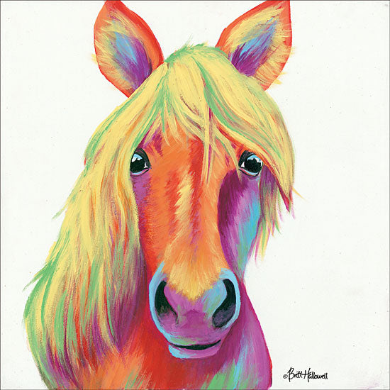 Britt Hallowell BHAR472 - Cheery Horse - 12x12 Abstract, Horse, Rainbow, Colors, Portrait, Selfie from Penny Lane
