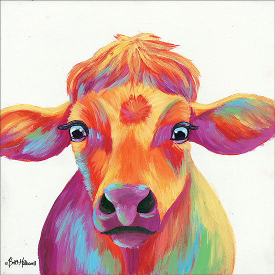 Britt Hallowell BHAR473 - Cheery Cow - 12x12 Abstract, Cow, Rainbow, Colors, Portrait, Selfie from Penny Lane