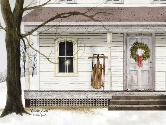 Billy Jacobs BJ1000 - Winter Porch Front Porch, Winter, Snow, Sled, Wreath, Holidays, Americana from Penny Lane