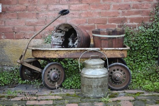 Billy Jacobs BJ1058 - Milk Wagon Wagon, Buckets, Milk Pail, Antiques, Still Life from Penny Lane