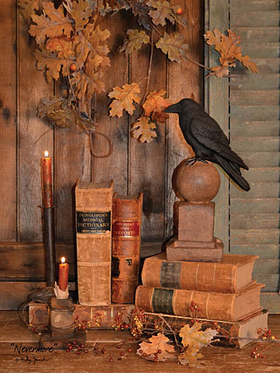 Billy Jacobs BJ1065 - Nevermore - Crow, Books, Candle, Antiques, Leaves from Penny Lane Publishing