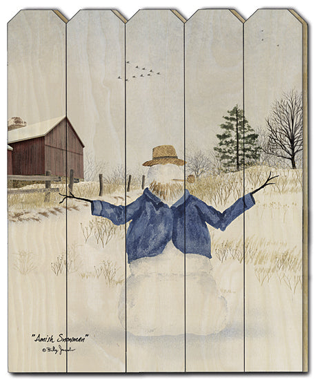 Billy Jacobs BJ1165PF - Amish Snowman - Amish, Snowman, Snow, Meadow, Field, Barn from Penny Lane Publishing