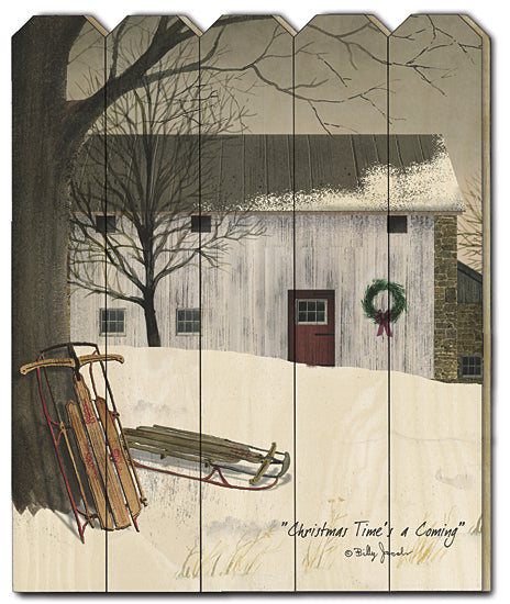 Billy Jacobs BJ1167PF - Christmas Times a Comin' - Barn, Sled, Snow, Barn, Farm from Penny Lane Publishing