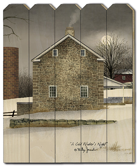 Billy Jacobs BJ1170PF - A Cold Winter's Night - Farm, Stone House, Snow, Winter from Penny Lane Publishing