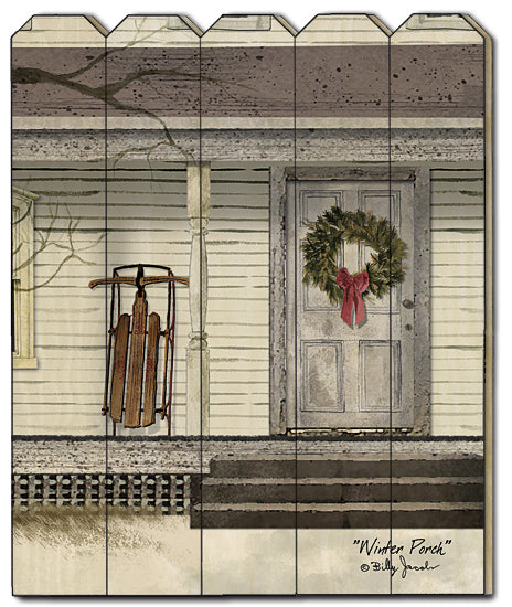 Billy Jacobs BJ1172PF - Winter Porch - Front Porch, Sled, Wreath, Door, Winter from Penny Lane Publishing