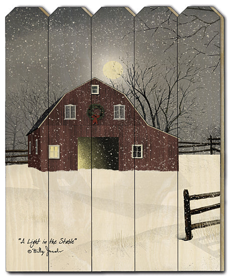 Billy Jacobs BJ1174PF - A Light in the Stable - Winter, Snow, Barn, Farm, Fence, Tree from Penny Lane Publishing