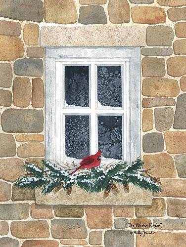 Billy Jacobs BJ1179 - Winter Visitor - Cardinal, Pine Sprigs, Winter, Window from Penny Lane Publishing