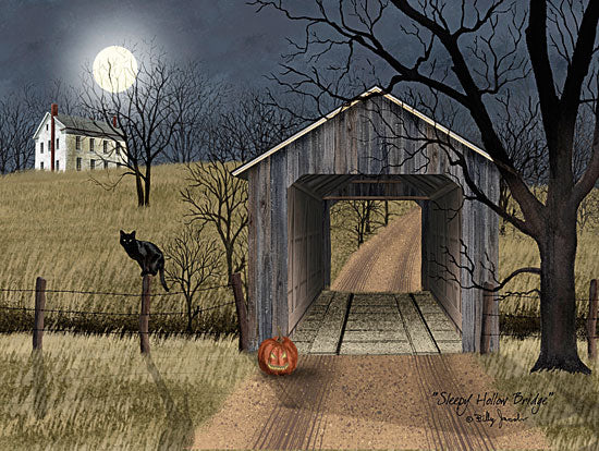 Billy Jacobs BJ1189 - Sleepy Hollow Bridge Halloween, Spooky, Black Cat, Jack O'lantern, Moon, Evening from Penny Lane