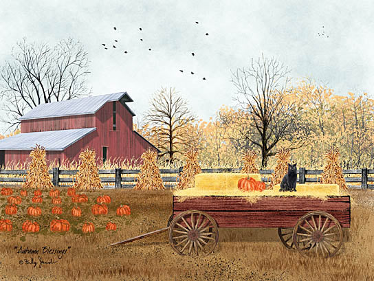 Billy Jacobs BJ1192 - BJ1192 - Autumn Blessings - 16x12 Farm, Autumn, Barn, Wagon, Pumpkins, Cat, Harvest from Penny Lane